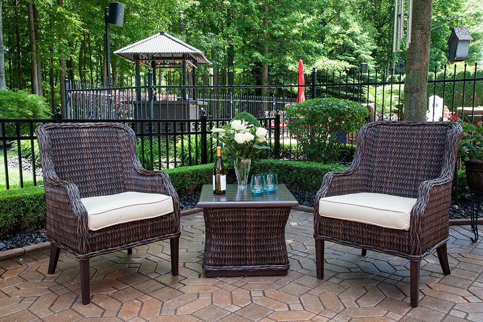 Beau Mila Collection All Weather Wicker Luxury Patio Furniture 2 Person Chat Set