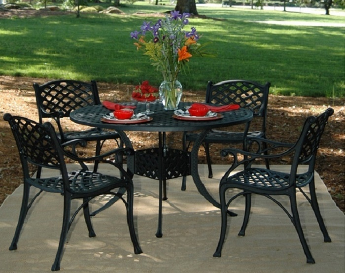 Newport By Hanamint 4 Seat Luxury Cast Aluminum Dining Set W/Stationary  Chairs
