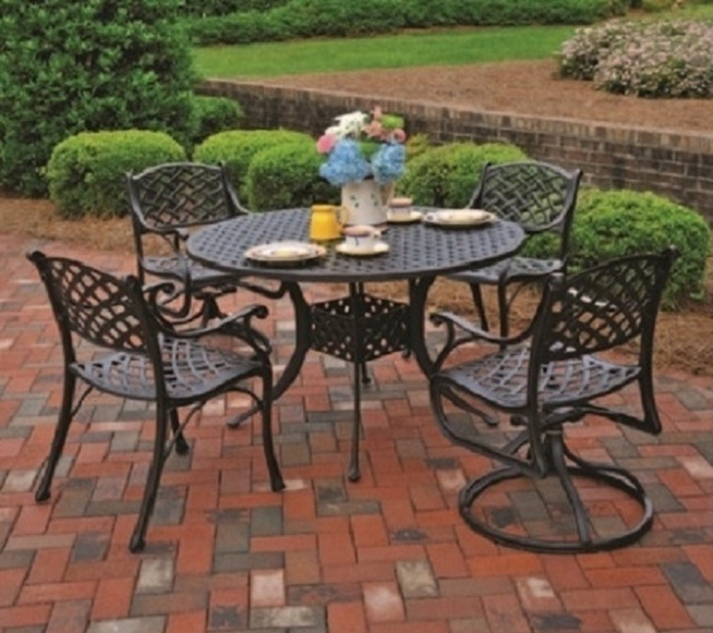 Newport By Hanamint 4 Seat Luxury Cast Aluminum Dining Set W/Swivel Chairs