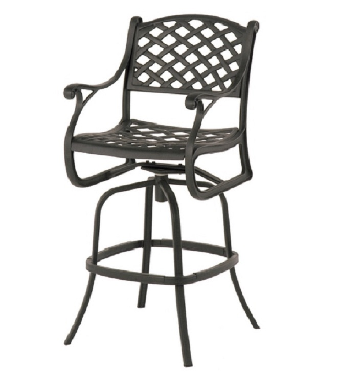 Beautiful Newport By Hanamint Luxury Cast Aluminum Patio Furniture Swivel Bar Height  Chair