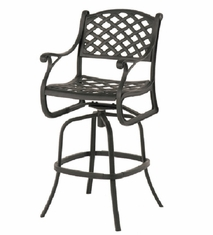 Newport By Hanamint Luxury Cast Aluminum Patio Furniture Swivel Bar Height Chair