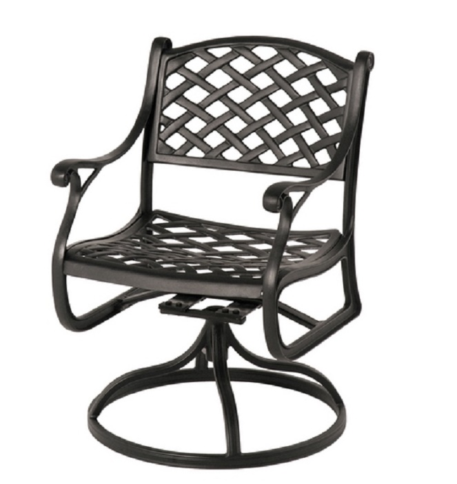 Newport By Hanamint Luxury Cast Aluminum Patio Furniture Swivel Dining Chair