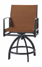 Phoenix By Gensun Luxury Cast Aluminum Patio Furniture Padded Sling Swivel Balcony Stool
