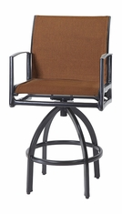 Phoenix By Gensun Luxury Cast Aluminum Patio Furniture Padded Sling Swivel Bar Stool