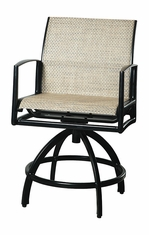 Phoenix By Gensun Luxury Cast Aluminum Patio Furniture Sling Swivel Balcony Stool