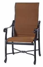 San Marino by Gensun Luxury Cast Aluminum Patio Furniture Padded Sling High Back Dining Chair