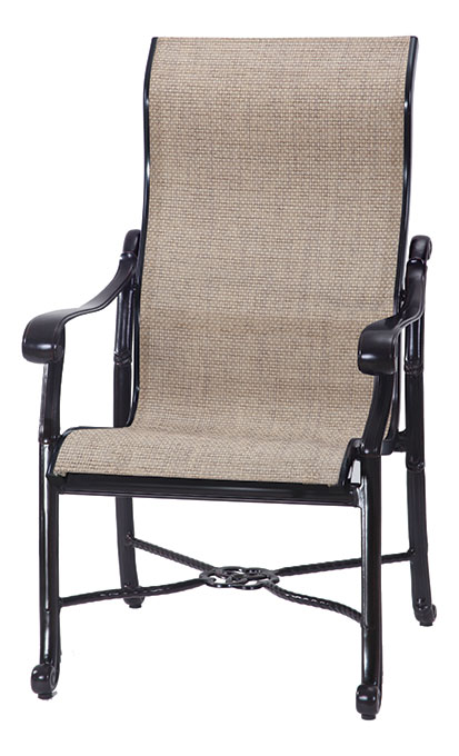 San Marino By Gensun Luxury Cast Aluminum Patio Furniture Sling High Back  Dining Chair