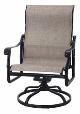 San Marino by Gensun Luxury Cast Aluminum Patio Furniture Sling High Back Swivel Rocking Lounge Chair