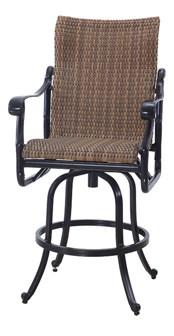 San Marino By Gensun Woven High Back Patio Furniture Swivel Bar Height Chair