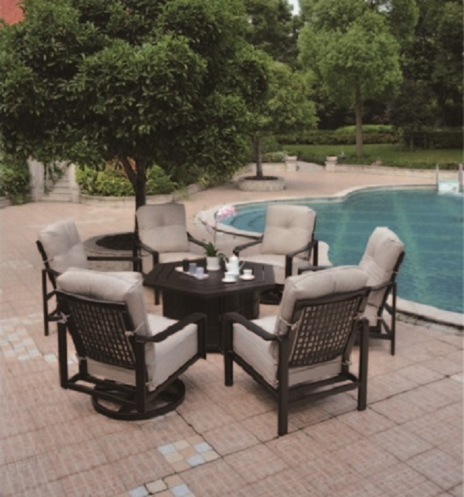 Sherwood By Hanamint Luxury Cast Aluminum Hexagonal Enclosed Gas - Cast aluminum gas fire pit table