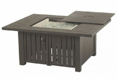 Sherwood By Hanamint Luxury Cast Aluminum Square Enclosed Gas Fire Pit Table