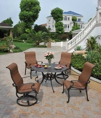 St. Augustine By Hanamint Luxury Cast Aluminum 4-Person Sling Dining Set W/Swivel Chairs