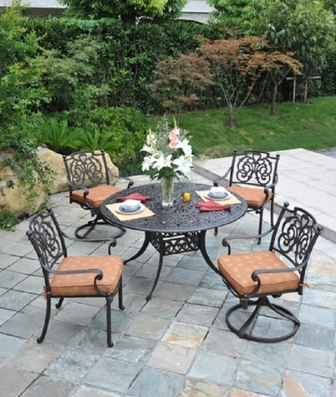 St Augustine By Hanamint Luxury Cast Aluminum 4 Person Dining Set W