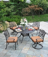 St. Augustine By Hanamint Luxury Cast Aluminum 4-Person Dining Set W/Swivel Chairs