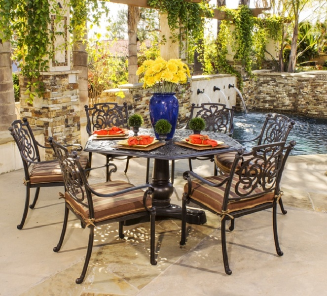 St Augustine By Hanamint Luxury Cast Aluminum Person Dining Set W - 6 person dining room table with leaf