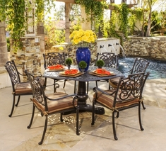St. Augustine By Hanamint Luxury Cast Aluminum 6-Person Dining Set W/Stationary Chairs