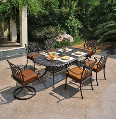 St. Augustine By Hanamint Luxury Cast Aluminum 6-Person Dining Set W/Swivel Chairs