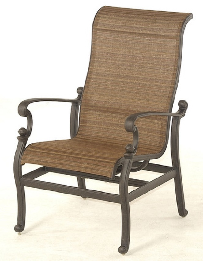 St Augustine By Hanamint Luxury Cast Aluminum Patio Furniture Sling Stationary Spring Chair