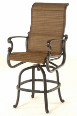 St. Augustine By Hanamint Luxury Cast Aluminum Patio Furniture Sling Swivel Bar Height Chair