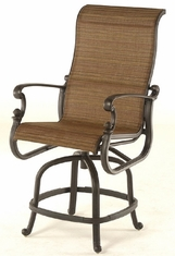 St. Augustine By Hanamint Luxury Cast Aluminum Patio Furniture Sling Swivel Counter Height Chair