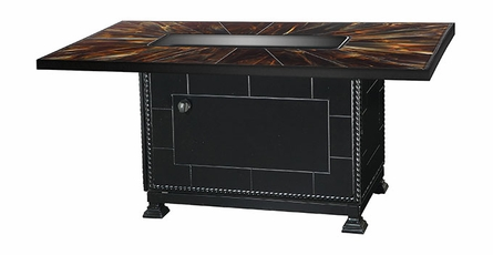 """Stained Glass 38""""x56"""" Rectangular Outdoor Gas Fire Pit"""