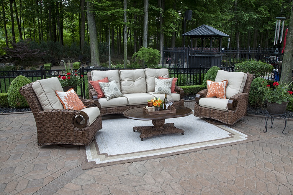 The Aerin Collection 5 Piece All Weather Wicker Patio Furniture Deep Seating  Set