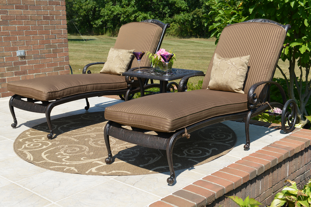 Amalia luxury cast aluminum patio furniture chaise lounge for Most expensive outdoor furniture