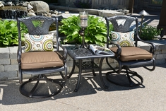 Amalia 2-Person Luxury Cast Aluminum Patio Furniture Chat Set With Swivel Chairs