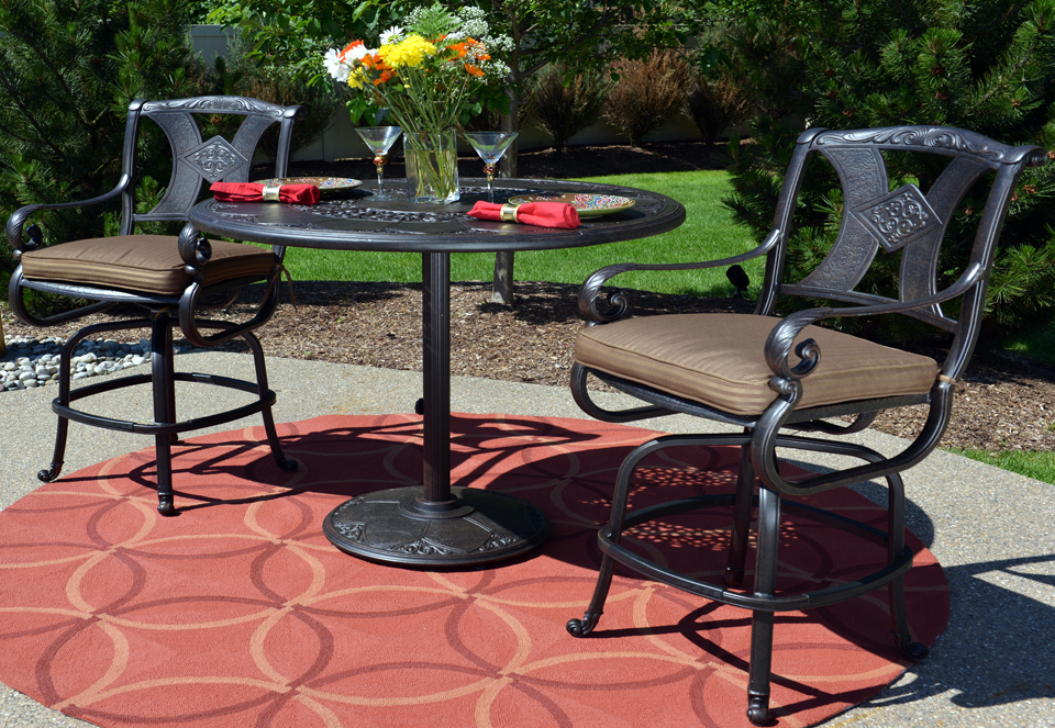 amalia 3 piece luxury cast aluminum patio furniture bar height set