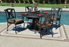 Amalia 4-Person  Luxury Cast Aluminum Patio Furniture Dining Set 4 Dining Chairs