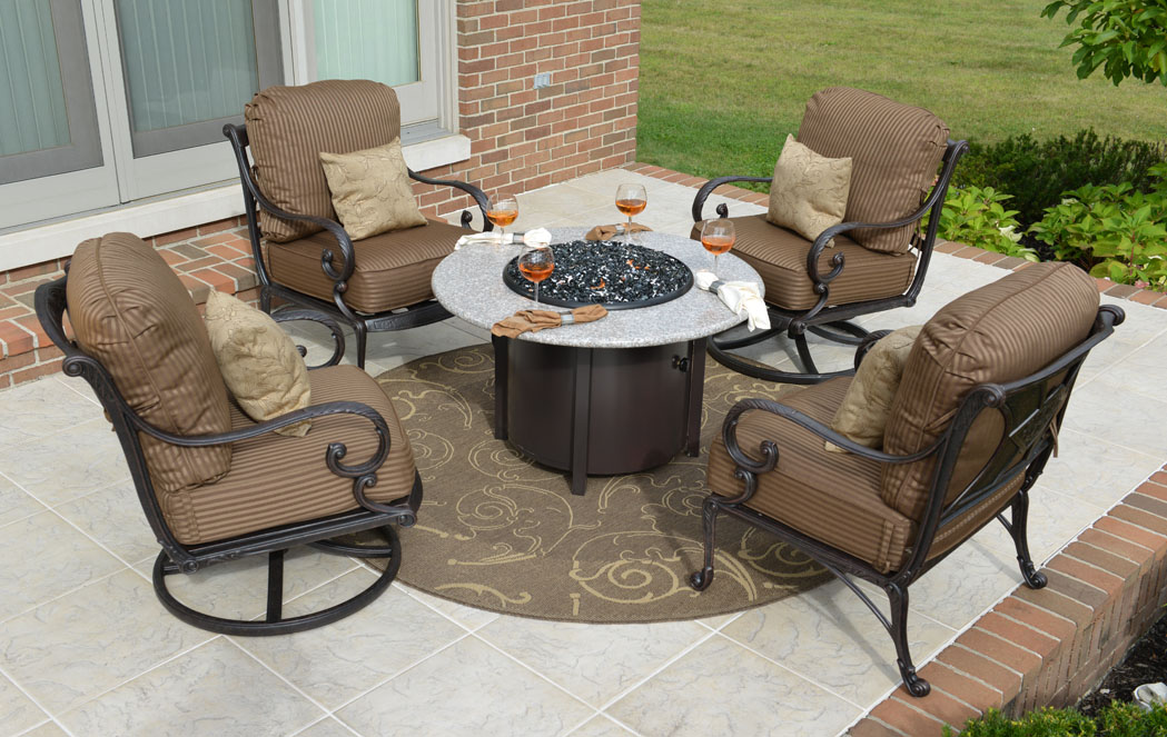 Amalia 4-Person Luxury Cast Aluminum Patio Furniture Conversation Set  W/Fire Pit - Amalia 4-Person Luxury Cast Aluminum Patio Furniture Conversation