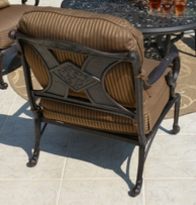 Amalia 4 Person Luxury Cast Aluminum Patio Furniture Chat Set W/Fire Pit  And Stationary Chairs