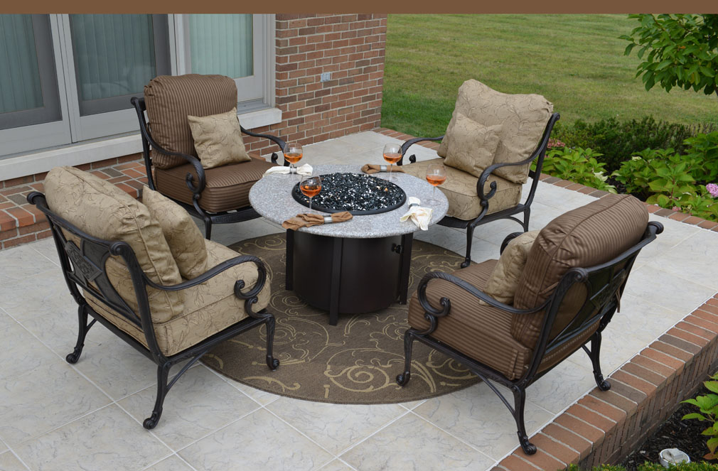 amalia 4 person luxury cast aluminum patio furniture chat set wfire pit and stationary chairs - Fire Pit Patio Set