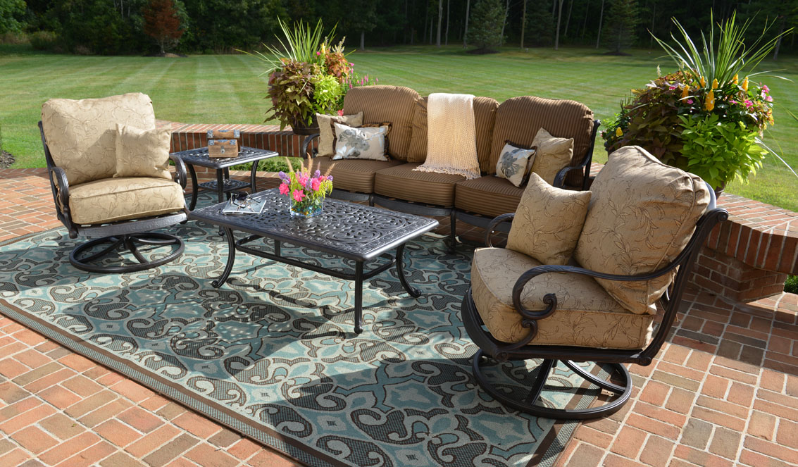 Amalia 5 Piece Luxury Cast Aluminum Patio Furniture Conversation Set W Swivel Chairs