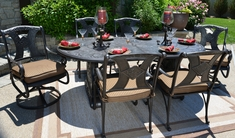 Amalia 6-Person Luxury Cast Aluminum Patio Furniture Dining Set With Swivel Chairs