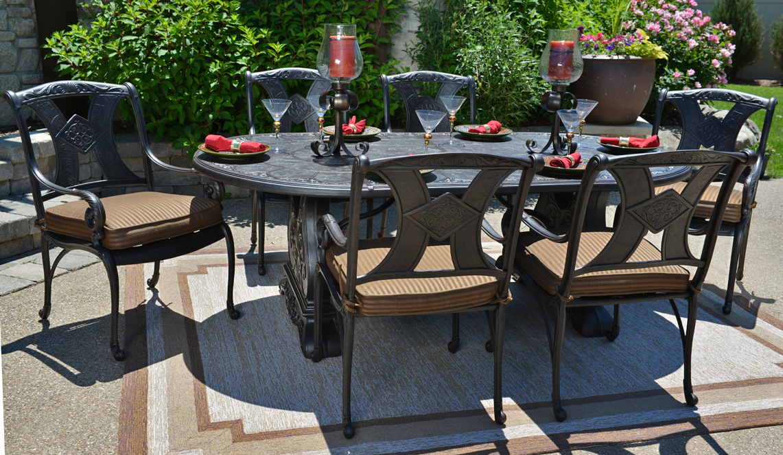Amalia 6 Person Luxury Cast Aluminum Patio Furniture Dining Set With  Stationary Chairs