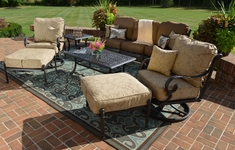Amalia 7-Piece Luxury Cast Aluminum Patio Furniture Deep Seating Set W/Swivel Chairs