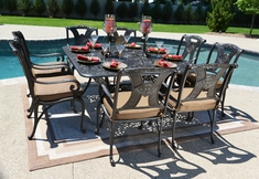 "Amalia 8-Person Luxury Cast Aluminum Patio Furniture Dining Set W/60"" Square Table"