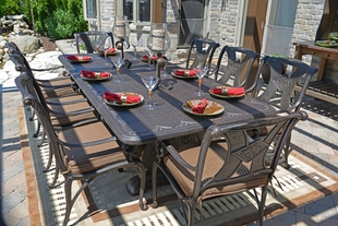 Marvelous Amalia 8 Person Luxury Cast Aluminum Patio Furniture Dining Set With  Stationary Chairs