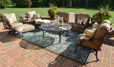 Amalia 8-Piece Luxury Cast Aluminum Deep Seating Set W/Drink Table and Swivel Chairs