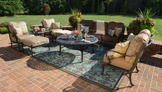 Amalia 8-Piece Luxury Cast Aluminum Deep Seating Set W/Drink Table And Stationary Chairs