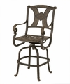 Amalia Luxury Cast Aluminum Patio Furniture Bar Height Swivel Chair W/Cushion