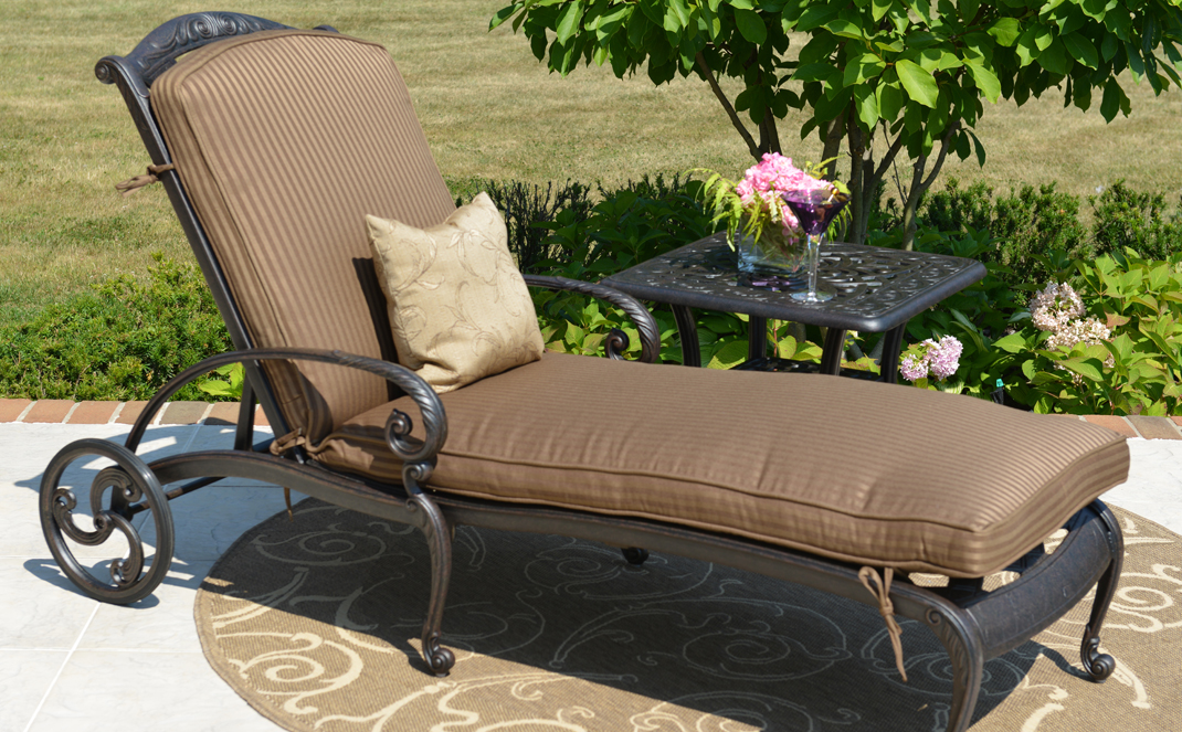 amalia luxury cast aluminum patio furniture chaise lounge