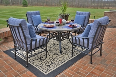 Amia Luxury 4-Person Cast Aluminum Patio Furniture Dining Set