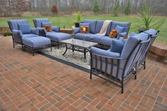Amia 8-Piece Luxury Cast Aluminum Patio Furniture Deep Seating Set W/Stationary Chairs
