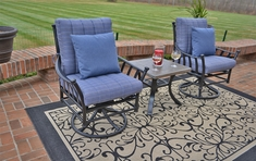 Amia Luxury 2-Person Cast Aluminum Patio Furniture Chat Set W/ Swivel Chairs