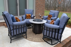 Amia 4-Person Luxury Cast Aluminum Patio Furniture Deep Seating Set W/Fire Pit