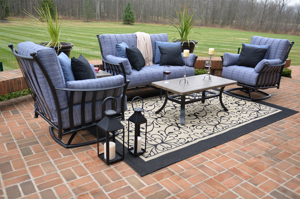 Amia 5 piece luxury cast aluminum patio furniture deep for Deep seating outdoor furniture