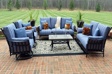 Amia 6-Piece Luxury Cast Aluminum Patio Furniture Deep Seating Set W/Swivel Club Chairs