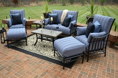 Amia 7-Piece Luxury Cast Aluminum Patio Furniture Deep Seating Set W/Stationary Chairs